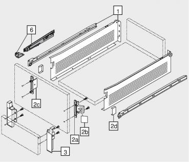 beschlaege online blum metabox stahlzarge k 118 mm teilauszug 25 kg nl 500 mm schraub. Black Bedroom Furniture Sets. Home Design Ideas