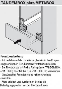 beschlaege online k rnerlehre f r tandembox metabox. Black Bedroom Furniture Sets. Home Design Ideas