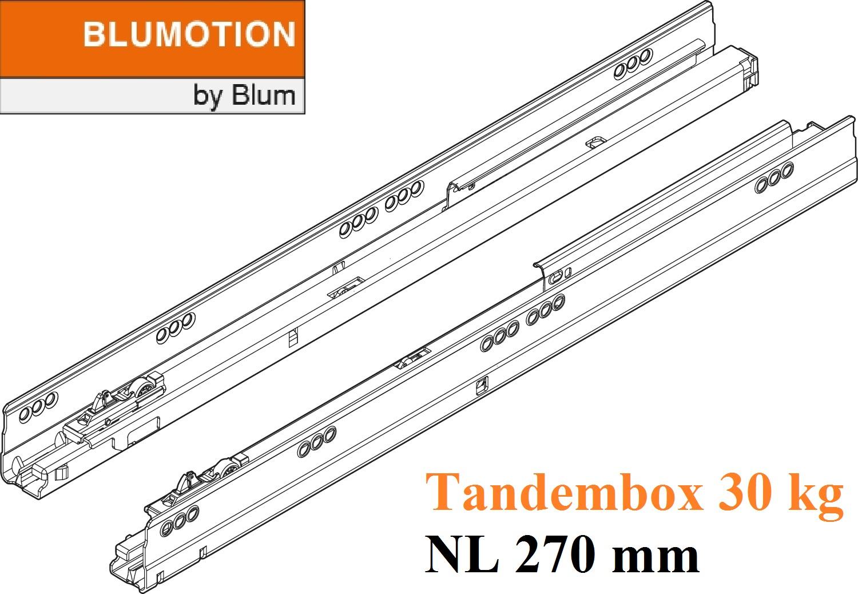 beschlaege online tandembox blumotion korpusschiene vollauszug 30 kg nl 270mm li re. Black Bedroom Furniture Sets. Home Design Ideas