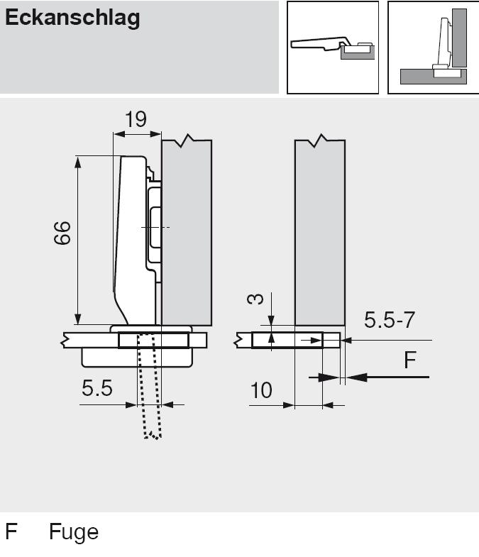 mit Feder gerade CLIP top Glast/ürscharnier 94/° Topf: Schrauben