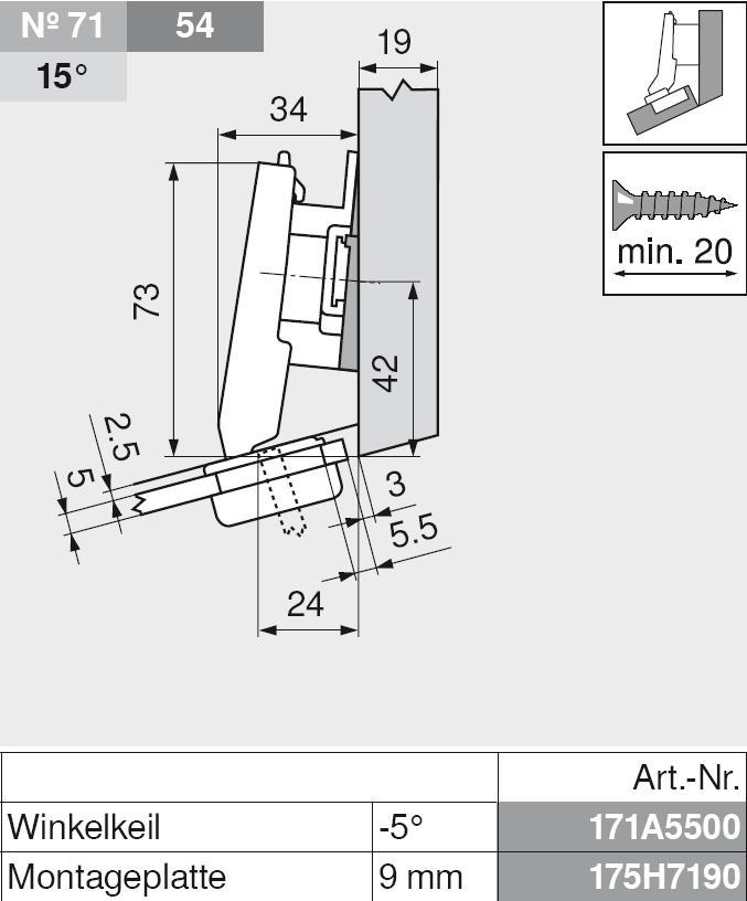 aufschlagend mit Feder Schrauben Blum CLIP top Glastür Winkelscharnier 20°