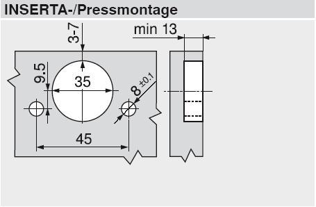 CLIP top BLUMOTION Standardscharnier 110/° mit Feder gerade Topf: INSERTA 71B3590