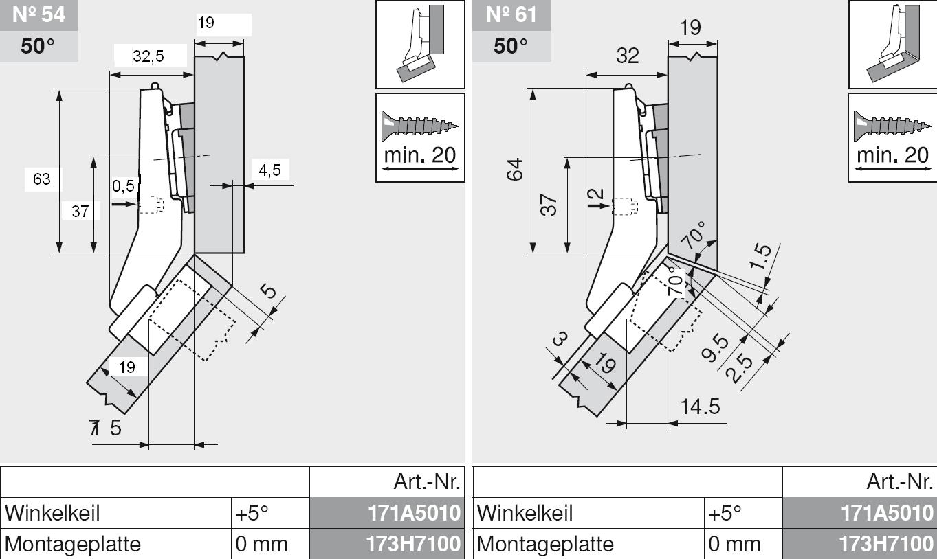 halbaufschlagend Topf INSERTA Blum CLIP top BLUMOTION Winkelscharnier 45° I